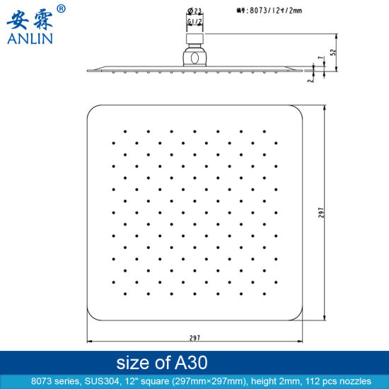 12 Inch Large Square Stainless Steel Shower Head
