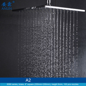 Contemporary 8 Inch Square Brass Rain Showerhead